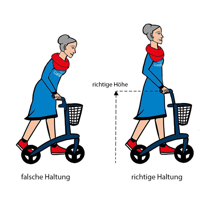 Haltung und Höhe eines Rollators